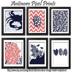 Digital Print Beach House Prints Navy Blue Coral White Wall Art Vintage / Modern Inspired -Set of (6) -5x7Prints - (UNFRAMED)