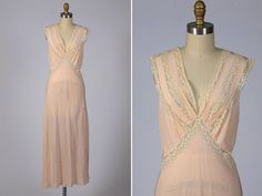 1940s rayon nightgown by shopKLAD on Etsy