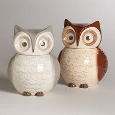 Ceramic OWL Cookie Jars Set of 2 by WorldStyleMarket