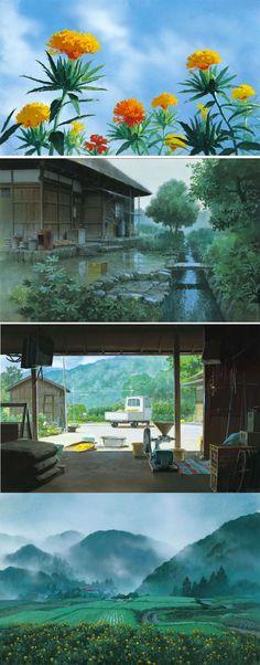 Kazuo Oga for Studio Ghibli. This looks like Omoide Poro Poro (Only Yesterday) backdrops.