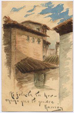 Tarjeta de felicitación a Enriqueta Acín, pintada por su hermano Ramón Acín, con edificios y tejados. Según Katia Acín es una vista desde el edificio de la calle de las Cortes.