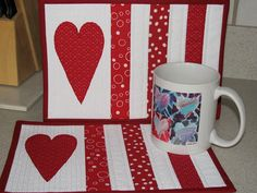 Quilted Mug Rugs Cute Red Hand Appliqued Heart on and White Cottage Chic - Two Mug Mats via Etsy