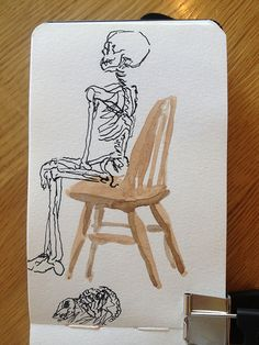 ink skeleton on a watercolour chair