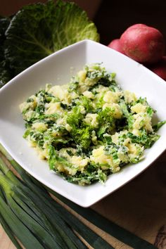 Irish colcannon – mashed potatoes with green cabbage or kale