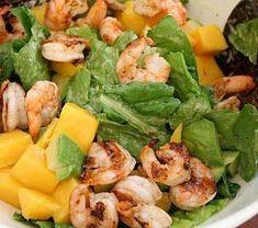 salat med scampi, mango og avokado Caesar Salat, Scampi, Potato Salad, Mango, Potatoes, Eat, Ethnic Recipes, Drinks, Food