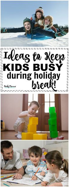 Ideas for Keeping Kids Busy During Holiday Break Activities For Autistic Children, Winter Activities For Kids, Activities For Adults, Fun Activities For Kids, Family Activities, Kids And Parenting, School Holidays, Christmas Holidays, Christmas Crafts