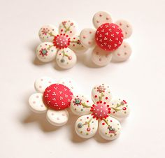 so pretty flowers, #polymer #clay