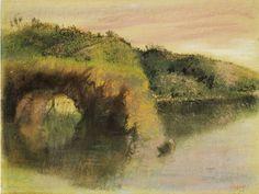 Riverbanks, Edgar Degas 1890 Monotype and pastel Intercepted by Gravitation
