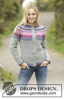 Helsinki - Crochet DROPS jumper with multi-colored pattern and round yoke…