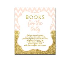 Baby Shower Peach Chevron Gold Glitter - Insert Books for the Baby - Instant Download Printable