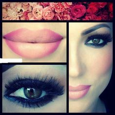 Make up dramatic eyes soft lips