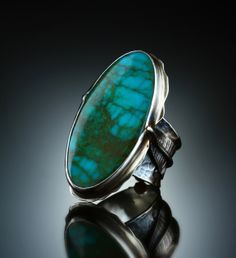 Royston Turquoise Ring. Fabricated Sterling Silver. www.amybuettner.com https://www.facebook.com/pages/Metalsmiths-Amy-Buettner-Tucker-Glasow/101876779907812?ref=hl