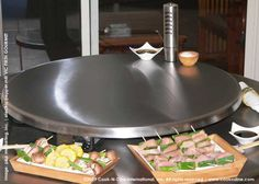 "CDS Portable teppanyaki flat top grill  model PU-27, size 27-1/2"" diameter    cook Japanese ""yakitori"" (chicken skewers) or . . .       - Electric Stainless Steel Pepper Mill VF by Fresco, Vic Firth Gourmet  available at www.shopping.cookndine.com"