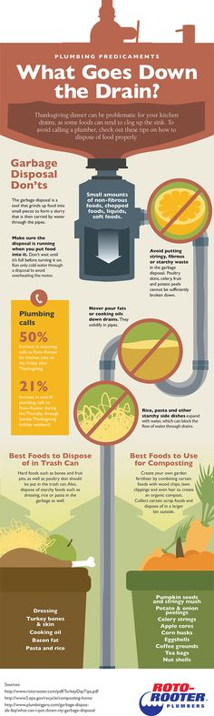 Learn which Thanksgiving / Christmas food items can safely go down the drain. #infographic by Roto Rooter
