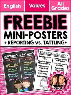 FREE Reporting vs. Tattling Posters