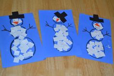 A great way to work on snipping skills.  Pre-cut strips of paper and have the child snip square shapes to glue on the outline of the snowman.