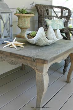 An amazing product that gives unfinished or sanded wood a distressed driftwood finish in 15 minutes~ driftwood weathered wood finish Furniture Projects, Furniture Makeover, Home Projects, Diy Furniture, Beach Cottage Decor, Coastal Decor, Repurposed Furniture, Painted Furniture, Porch Table