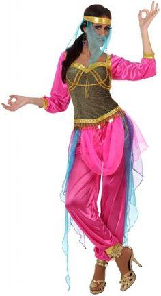 Orientalisches Tänzerinnen-Kostüm in Rosa für Damen