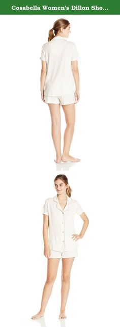 Cosabella Women's Dillon Short Sleeve Top and Boxer Pajama Set, Ivory/Coral Breeze, Medium. The dillon collection is a sophisticated, feminine interpretation of classic men's pajama styles. Made with super soft pima cotton and modal, these pajamas feature contrasting color trim at the neckline.