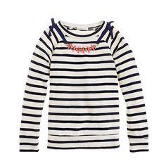 Girls' long-sleeve necklace tee in stripe