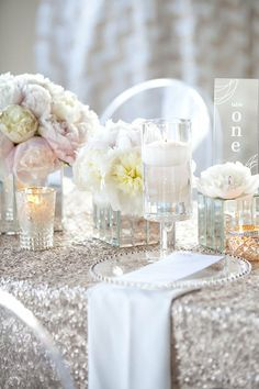 Silver and blush peonies LOVE the silver table cloth!