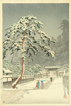 Kawase Hasui  Title: Honmon Temple at Ikegami.  Date: 1931.