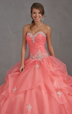 Organza Long Coral Quinceanera Dress Pageant Dress Prom Ball Gown Sweet 16 Dress in Clothing, Shoes & Accessories | eBay