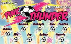 Thunder-Pink-40552 digitally printed vinyl soccer sports team banner. Made in the USA and shipped fast by BannersUSA. www.bannersusa.com