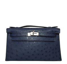 a1d21f9c9d5f Hermès Kelly Pochette Mini Ostrich Blue Bag