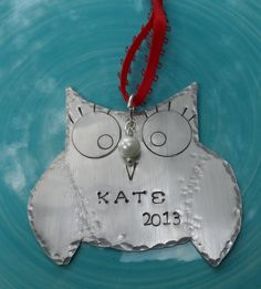 Items similar to hand stamped Ornament - Hand Stamped jewelry- Christmas Ornament - Owl Ornament- personalized ornament- owl jewelry on Etsy Baby First Christmas Ornament, Babies First Christmas, All Things Christmas, Christmas Fun, Christmas Ornaments, Owl Jewelry, Unique Jewelry, Owl Ornament, High Tech Gadgets
