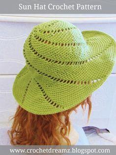 Ravelry: Sunsational Sun Hat pattern by CrochetDreamz Crochet Hat With Brim, Crochet Summer Hats, Love Crochet, Irish Crochet, Crochet Lace, Knitted Hats, Crochet Sun Hats, Summer Knitting, Crochet Motifs