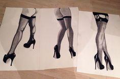 Lots of Legs Series of three. Graphite, india ink on cartridge paper India Ink, Graphite, Stockings, Paintings, Legs, Paper, Fashion, Graffiti, Socks