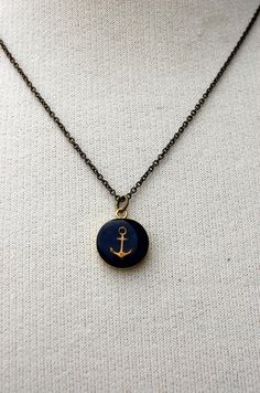 Nautical Anchor Bezel and Clay Necklace in by 2handsstudios, $22.00