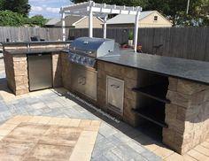 Can you picture grilling up tasty food with this outdoor kitchen from Cambridge Pavingstones with Armortec. Add one to your backyard today! Installation: Stone Creations of Long Island