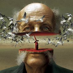modern Surrealism: Illustration by Igor Morski...aged portrait cut through the heart of life's dilemma: time & age, regrets of endless dreams flying/passing us by unrealized, whilst wishing a magic trick deep down at our center core could simply make it all vanish (the reality of life, time), so we can live the dream, not just dream the life...