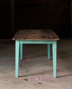 reclaimed table with acrylic-painted legs
