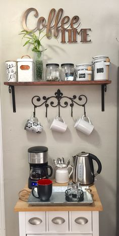 Over 34 exceptional DIY bar ideas for your cozy home / café – Style Of Coffee Bar In Kitchen - Home Coffee Stations Coffee Bars In Kitchen, Coffee Bar Home, Home Coffee Stations, Coffe Bar, Coffee Station Kitchen, Coffee Bar Design, Coffee Nook, Coffee Tables, Coffee Coffee