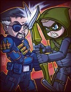 Arrow fighting Deathstroke fanart by lordmesa-art Chibi Characters, Comic Book Characters, Arrow Slade, South Park, Power Rangers, Lord Mesa Art, Arrow Art, Univers Dc, Team Arrow