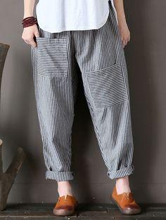 Fashion Pants, Boho Fashion, Girl Fashion, Japanese Outfits, Japanese Fashion, Salwar Pants, Pants For Women, Clothes For Women, Elastic Waist