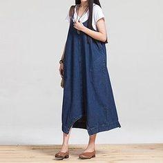 Denim Jumper Midi Dress