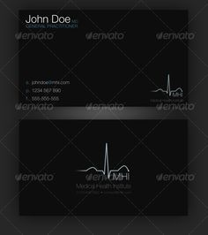 Stylish Dark Gray And White Medical Business Cards With Caduceus