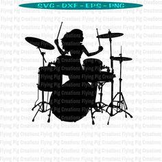 Girl Drummer, Female Drummer, Wolf Wallpaper, Music Photo, Silhouettes, Drums, Create Yourself, Digital, Cricut