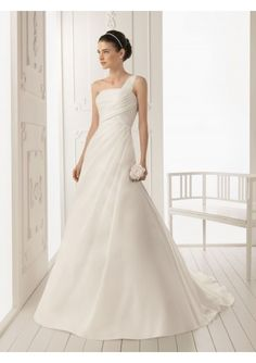 Satin One-Shoulder A-Line Style with Ruffle Floral Detail 2013 Wedding Dress WD-3135