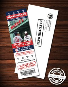 Baseball Themed Wedding Save the Date Ideas - Custom designed by our graphics department. Baseball Wedding Centerpiece Ideas too! Baseball Wedding Centerpieces, Ticket Invitation, Invite, Wedding Invitations Examples, Sports Wedding, Wedding Save The Dates, Chicago Wedding, Engagement Pictures, Custom Design