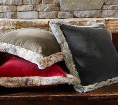 Fur Trimmed Velvet Pillow Cover #potterybarn