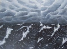 Original Seascape Painting, Stormy Sea Acrylic Painting, Stormy Nautical Art, Ocean Waves, Cloudy Sky, Black and Dark Grey, Gray, 18 X 24