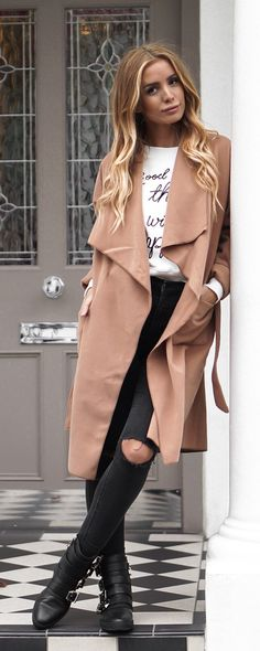 Fall fashion | Khaki Lapel Pockets Coat with white top, ripped jeans and black boots. It is the fashion trendy!!!