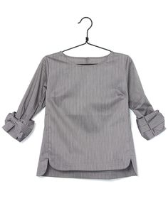 7分丈デザインストライプシャツ #シータ・ミュー