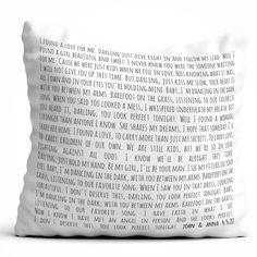 Personalized song lyric pillow.  Easy to remove and wash. Soft touch. No plastic or vinyl, ink remains in the fabric providing a high degree of resistance from washes.  🔥Free shipping #gift #boyfriend #anniversary #couple #custom