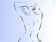 ORIGINAL Akt Zeichnung Frau Rücken Bild  artistic nude von narteck